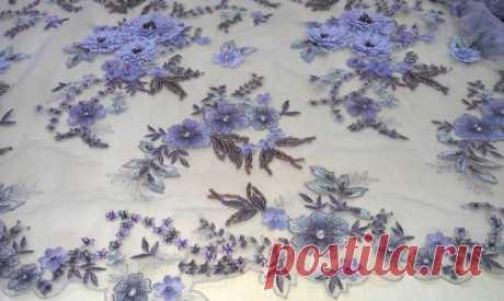 Гипюр светло синий(объемная вышивка на сетке) - купить ткань онлайн через интернет-магазин ВСЕ ТКАНИ