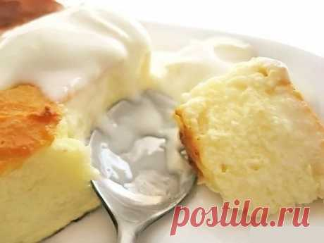 Tasty and useful cottage cheese pudding.