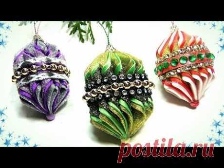 Новогодние игрушки на ёлку своими руками, ёлочные игрушки фонарики канзаши / diy christmas ornaments