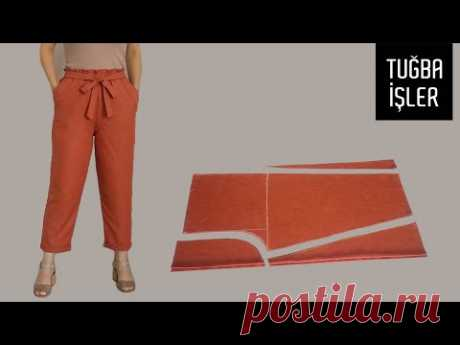 Как просто сшить укороченные брюки со сборкой на талии и сделать выкройку | Tuğba İşler