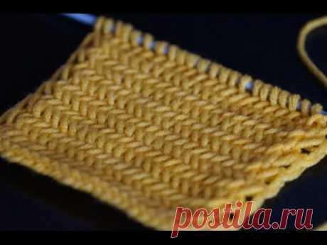 Вязание спицами узора Елочка для начинающих  /////   Herringbone pattern knitting for beginners
