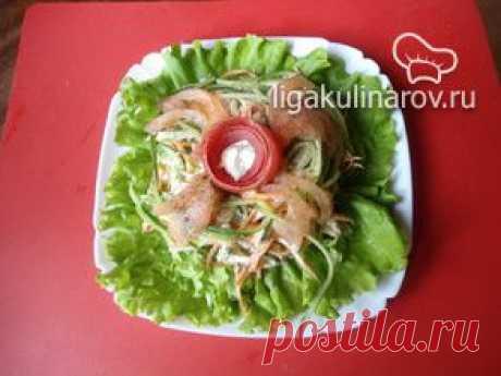 """Зеленый салат с яблоками """"Здоровье"""" – рецепт с фото от Лиги Кулинаров, пошаговый рецепт"""