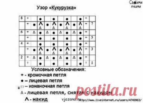 Узор кукуруза, ёжики, узелки, чешуйки   Вязана.ru