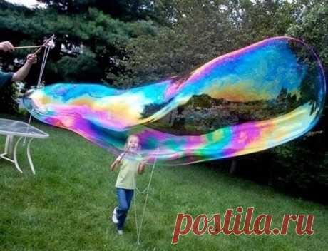 Рецепт гигантских мыльных пузырей - Поделки с детьми   Деткиподелки
