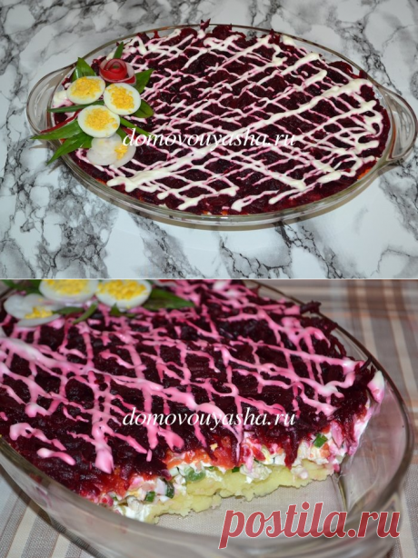 Салат Курица под шубой: классический рецепт.