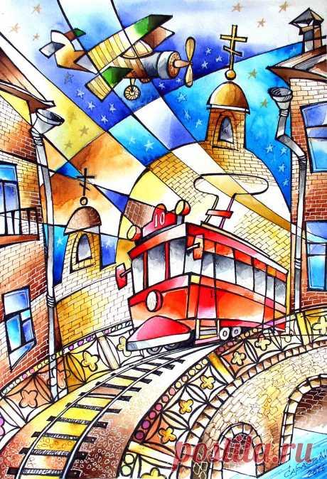 Красный трамвай 2019  40х28 бум.акв.линер