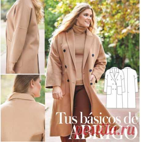 Пальто женское Размеры 50-54-58  Таблица размеров в файле выкройки. Выкройки даны для 3 размеров. Для получения среднего размера необходимо провести линию посередине между контуром для большего и меньшего размеров.