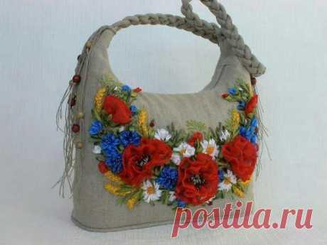 Очаровательная цветочная вышивка лентами - 20 удачных идей декора одежды и сумок