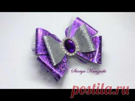 Бантики из ЭкоКожи и фатина / Фиолетовые бантики на резинках - YouTube