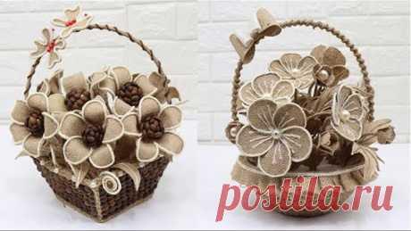 4 Beautiful Jute Flower Basket  