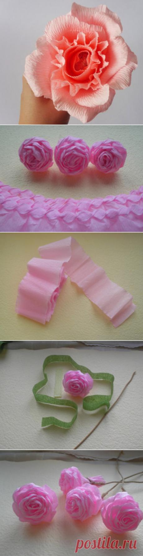Розы из гофрированной бумаги пошагово. | ИЗ БУМАГИ СВОИМИ РУКАМИ