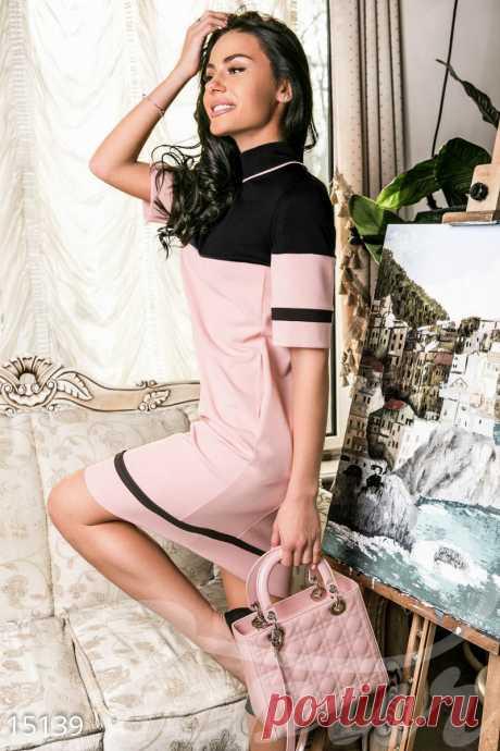 Gepur | Оригинальное платье футляр арт. 15139 Цена от производителя, достоверные описание, отзывы, фото ,Цвет:черный, светло-розовый