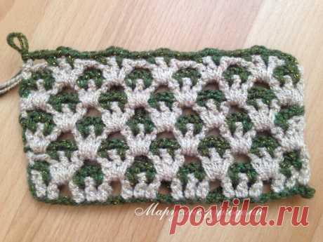 Двухцветный узор. Часть 2. Прямоугольное вязание.   Марусино рукоделие   Яндекс Дзен