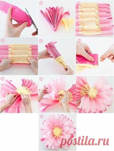 Крупные цветы из бумаги. | OK.RU