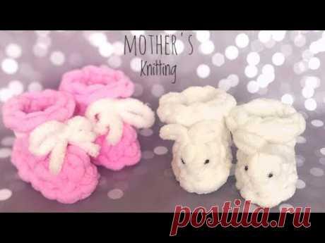 Пинетки из Alize Puffy. Мастер-класс от Mother's Knitting