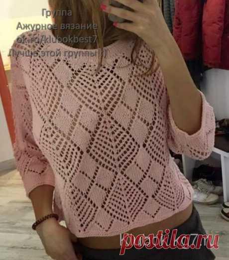 Пуловер из ажурных ромбов спицами | Клубок