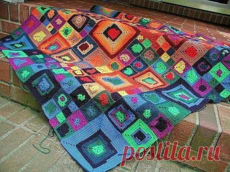 Grandmother's square and its application. If you want a rug, then you want a plaid, you want cover...
