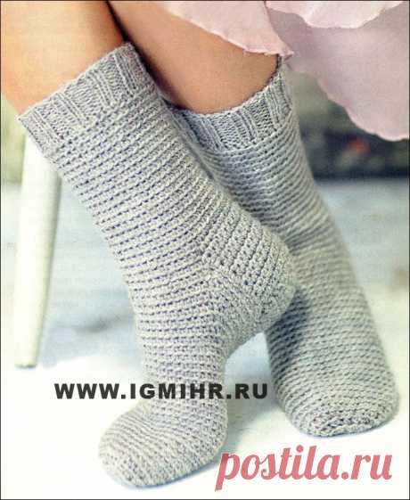 Теплые носки серого цвета. Крючок | Золотые Руки