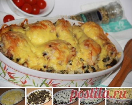 Ножки и бедра из курицы с картошкой и грибами в духовке
