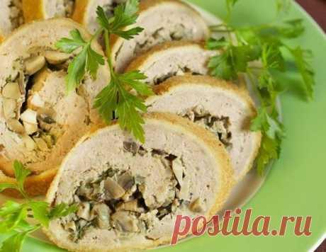 Праздничный мясной рулет с грибами - рецепт приготовления с фото от Maggi.ru