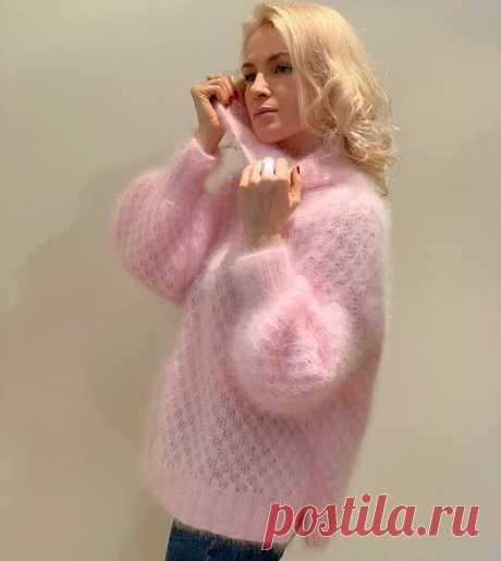 МОХЕР в петельках. Пуловеры женские с описанием и схемами. | Вяжем интересные проекты | Яндекс Дзен