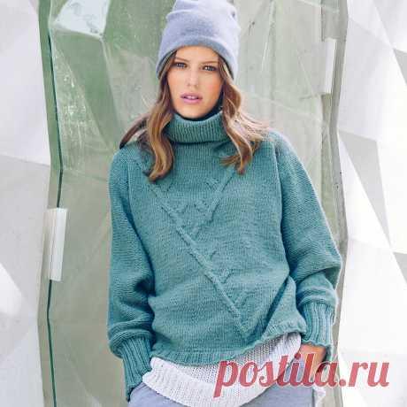 Цельновязаный свитер в спортивном стиле - Verena.ru