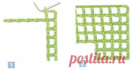 Вяжем угол в технике филейного вязания