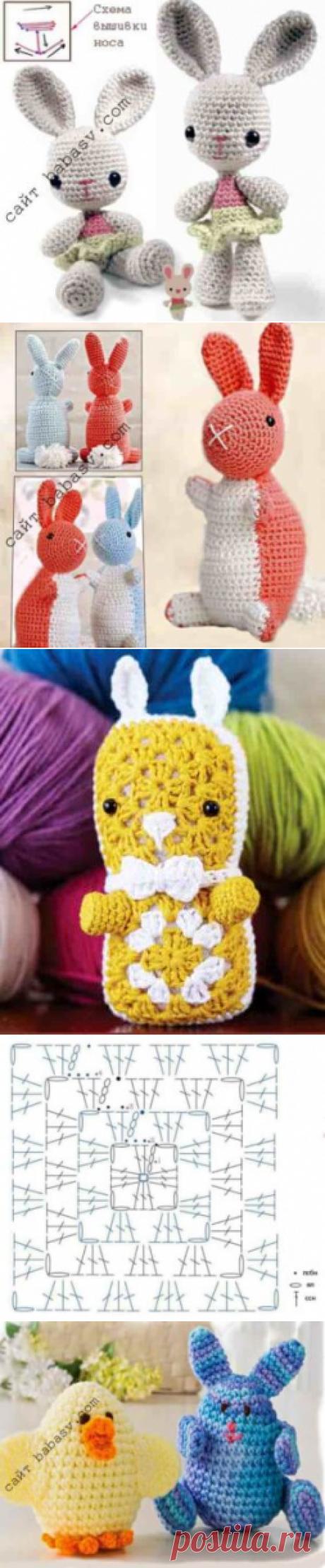 Связать зайца крючком: 4 игрушки с подробными описаниями