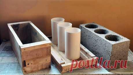 Как сделать простую форму для отливки цементных блоков из досок и трубы ПВХ Пустотелые блоки на основе цемента, практически не теряя прочности и теплоизоляции, значительно легче и дешевле полнотелых. Для их изготовления можно сделать очень простую, но удобную в работе форму из досок и трубы ПВХ, обладая элементарными навыками столярного