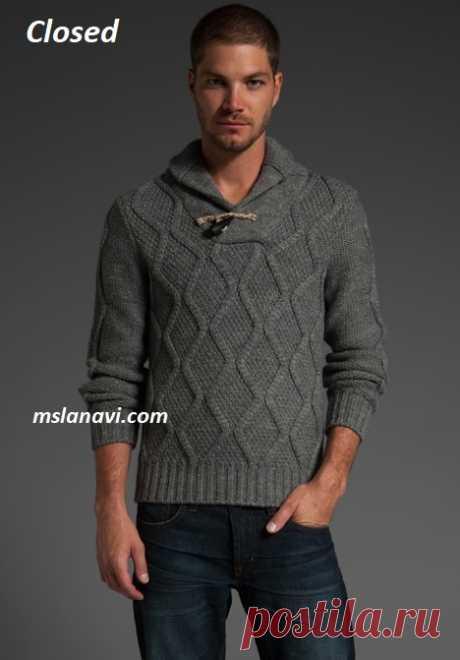 Мужской свитер спицами от Closed  | Вяжем с Лана Ви