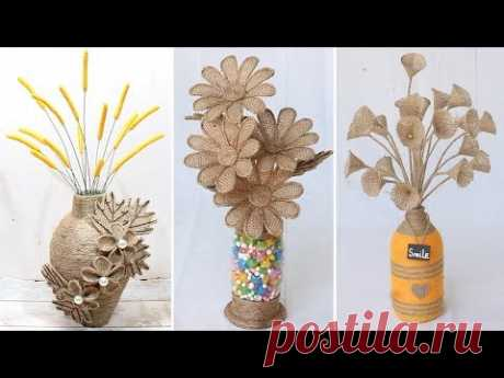 6 Beautiful flower vase decoration ideas with jute rope | Home Decor