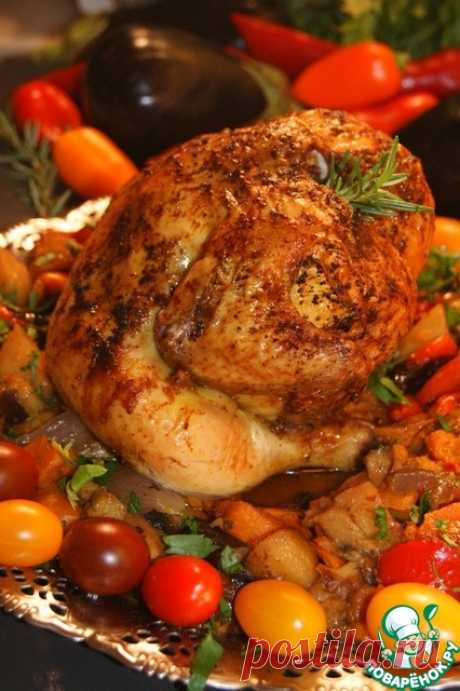 Курица в полёте по-гречески: хрустящая корочка и нежное мягкое мясо, ароматные, нежные и сочные овощи