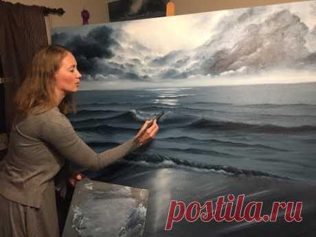 Painting Stormy Ocean Scene in oil Part I - YouTube