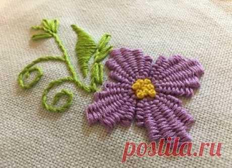 Учимся вышивать объёмные цветы