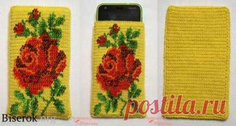 Мастер-класс по вязанию чехла для телефона / Вязание с бисером, Сумочки, чехлы для мобилок / Biserok.org