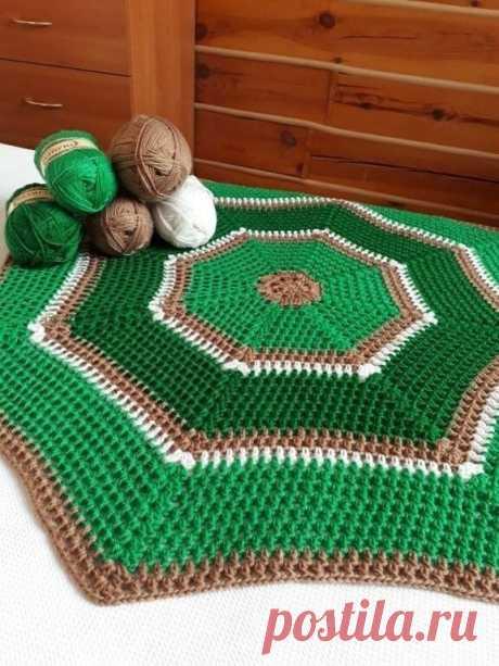Схема простого коврика. #коврик #крючком