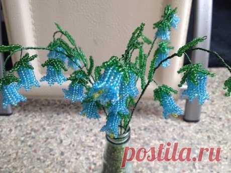 ЦВЕТЫ КОЛОКОЛьЧИКИ из БИСЕРА. Tutorial: Bluebell - flowers. БИСЕРОПЛЕТЕНИЕ для НАЧИНАЮЩИХ