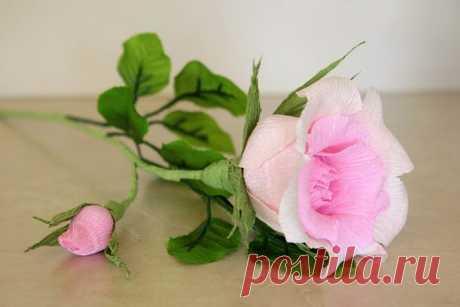 (+1) тема - Роза из гофрированной бумаги. МК Нины Героник | СВОИМИ РУКАМИ