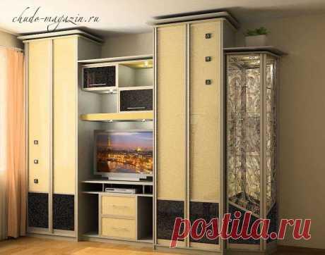Стенка в спальню со шкафом с телевизором на заказ в Москве; фото, дизайн, вид, модель