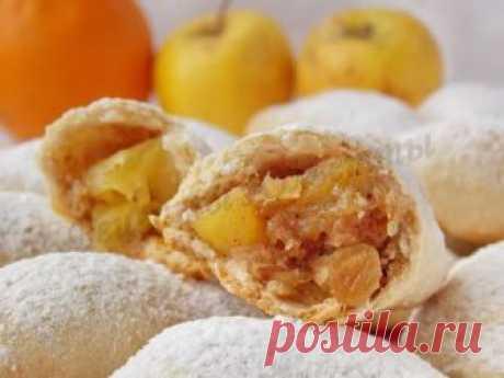 Вкусные пирожки с яблоками без дрожжей и яиц, зато с апельсином, корицей и изюмом!