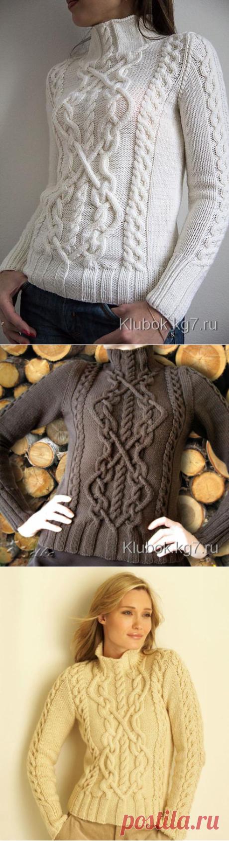 Вязание спицами для женщин Пуловер от Bernat