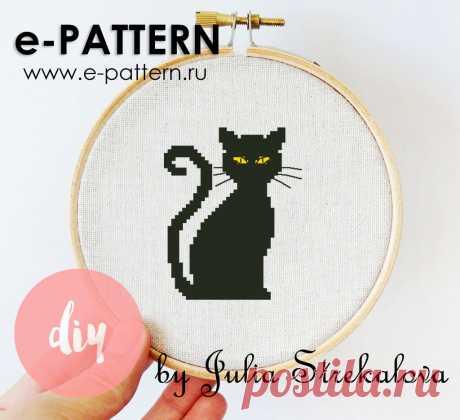 """Бесплатная авторская схема вышивки крестом """"Черный кот"""""""