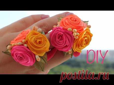Розы из узких атласных лент / DIY Satin Ribbon  Roses - YouTube