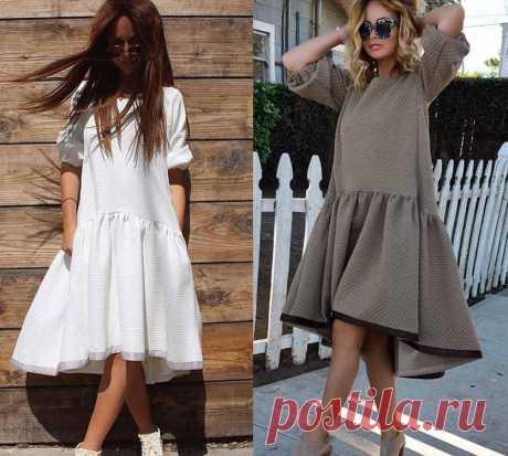 Выкройки платьев : Выкройка платья трапеция с оборкой и перепадом
