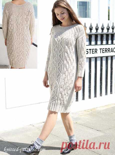 Платье от Maisie Smith спицами комбинированным узором