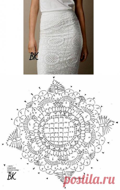 Вязаная юбка из квадратных мотивов. Схема