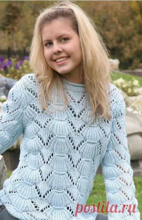 Стильный голубой пуловер из категории Интересные идеи – Вязаные идеи, идеи для вязания