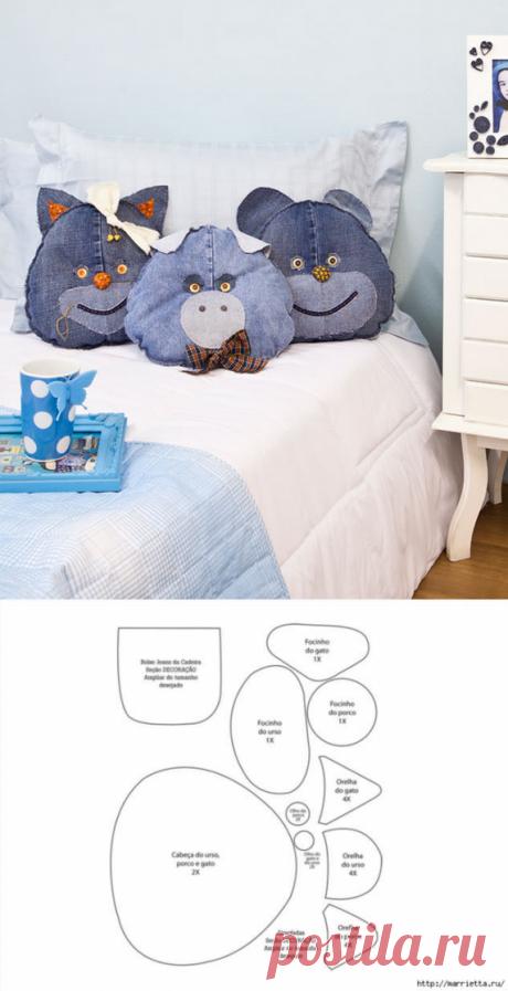 Детские подушки-игрушки из старых джинсов . Милая Я