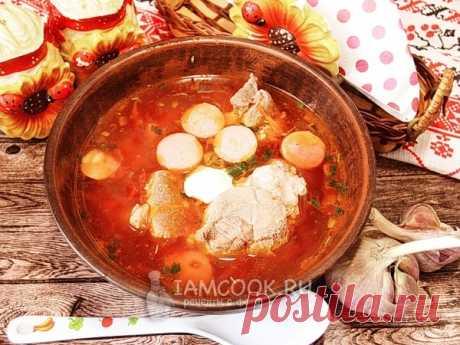 Львовский борщ в мультиварке — рецепт с фото Борщ под названием «Львовский» готовится со свеклой, но без капусты, а подается с сосисками.