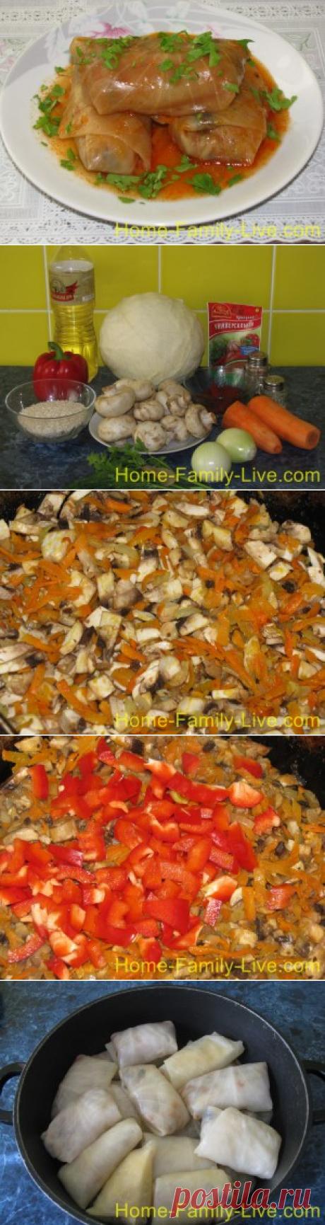 Голубцы с грибами - пошаговый фоторецепт - постная кухняКулинарные рецепты